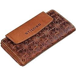 STILORD 'Lorelai' Cartera Piel Mujer Monedero Grande Vintage Billetera para Tarjetas DNI Billetes de Cuero auténtico, Color:Nevada - marrón