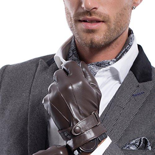 MATSU M2011 Herren Winter-Lammfell-Handschuhe, Super Warm, Leder Gr. M, Brown-TouchScreen