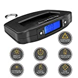 HANWELL 50kg/110lb Electronic Luggage Scale with 4 untis (Kg/g/lb/oz) , Portable Digital Travel Hanging Scales with Backlit Display/Tare/Data Hold Function-Black