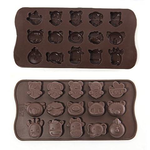 lgking Supply Moule en silicone en forme d'animaux pour chocolats, bonbons, savons et glaçons