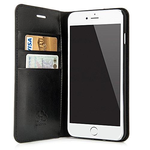 """Case für iPhone 8 Plus / iPhone 7 Plus (5,5"""") Thin Leather Hülle Liber Leder - Leder Tasche für Apple iPhone 7 / 8 Plus, Schutzhülle Book Case in schwarz von QUADOCTA® - Idealer Schutz für Diamantschw Schwarz"""
