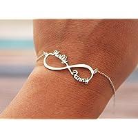 Argento Braccialetto infinito con 2 Nomi personalizzato - Bracciale per coppia Lovers - Braccialetto in argento simbolo infinito regalo per Amante argento