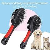 Fellbürste Katzenbürste Hundebürste Zwei funktionale Bürstenseiten Haustierbürste mit Drahtstiften Borsten für Verfilzungen Knoten und Unterfell, Kurz bis Langhaar(L) - 5