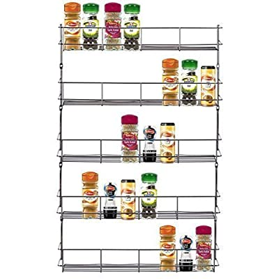 LIVIVO ® Chrome 5 Tier Spice Herb Jar Rack Holder For Home Kitchen Door Cupboard Storage or Wall Mountable by EXPRESS TRADING ®