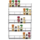 LIVIVO ® Chrome 5 Tier Spice Herb Jar Rack Holder For Home Kitchen Door Cupboard Storage or Wall Mountable