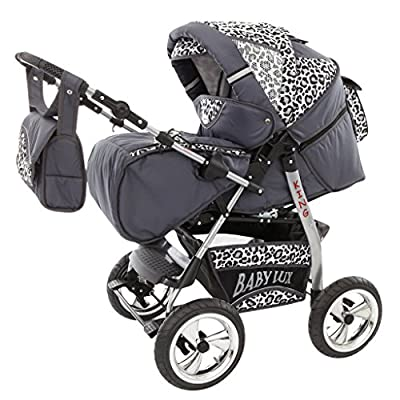 Lux4 children's pushchair set, carry cot, sports seat, changing bag, mattress, pushchair, mega set of accessories, over 400 options, 3-in-1 or 2-in-1, set made in EU, iCaddy SONARIN