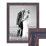 Photolini Vintage Bilderrahmen 40x50 cm Holz Dunkelbraun Shabby-Chic Massivholz mit Glasscheibe und Zubehör/Fotorahmen/Nostalgierahmen