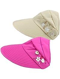 Gorra de Visera de Borde Ancho Sin Vello para Mujer 2 Paquetes Sombrero de  Sol de Verano Gorra Ajustable de Protección UV de Algodón… 1005d8d9b44