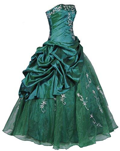 Vantexi Damen Trägerlos Stickerei Taft Prom Ballkleid Abendkleid Partykleider Smaragd Größe 34 (Grün Partykleid Smaragd)
