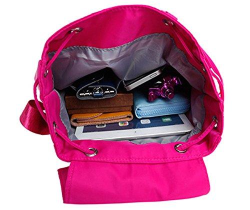 Keshi Nylon Niedlich Schulrucksäcke/Rucksack Damen/Mädchen Vintage Schule Rucksäcke mit Moderner Streifen für Teens Jungen Studenten Rosa