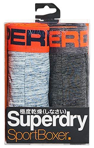 Superdry Sport Boxer Double Pack, Bikini Homme, Noir (Feeder Carbn Blk/Ocn Blu Spc D Zz4), Larg
