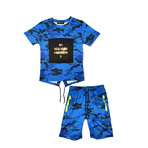 Blau Camo Camouflage T-shirt Top (Jungen NY New York Brooklyn T-Shirt Top Armee Camo Camouflage Shorts Set 3-14 Jahre)