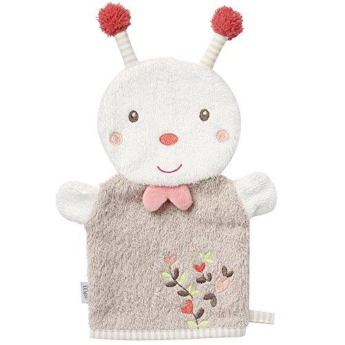 Fehn 068535 Waschhandschuh Biene/Waschlappen mit Tiermotiv für fröhlichen Badespaß, für Babys und Kinder ab 0+ Monaten