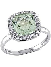 Anillo de moda con diamante TW de 1/10 CT y amatista verde TGW de 2 5/8 en oro blanco GH de 10k I1;12