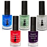 Olio per unghie in una bottiglia di pennello Set N°3, Vanille, Kiwi, Almond, Strawberry, Jasmin 5x10ml