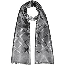 Lorenzo Cana Foulard de 100% soie pour l`homme – écharpe style dandy avec les mesures de 25 x 160 cm - tissue jacquard à double épaisseur, léger et noble pour le printemps et l´été en gris argenté