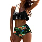 SANFASHION Damen Sommer Push up Bikini Set Bademode Badeanzug Female Retro Beachwear