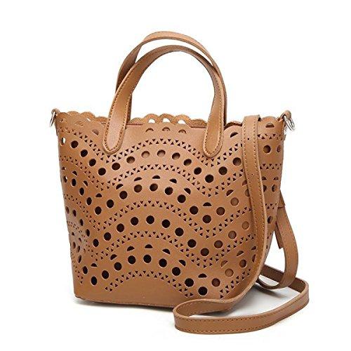 Weiblich Hohl Schultertasche Einfarbig Retro Schultertasche College Große Kapazität Messenger Bag Abnehmbar Handtasche Brown