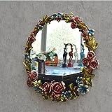ZI LING SHO- Pastoral Roses Badezimmer Spiegel Retro Wand hängende Kleidering Eingang Spiegel American Antique WC Schönheit Wasserdichte Waschen Make-up Spiegel (Farbe : Antique Color)