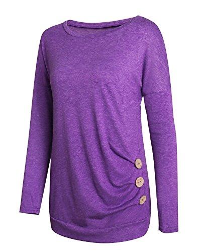 LANISEN Damen Mädchen Einfarbig Lange Ärmel Langarm Rundhals Shirt S-2XL Violett