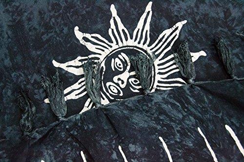 ManuMar Damen Sarong | Pareo Strandtuch | Leichtes Wickeltuch mit Fransen-Quasten Mini-Rock 55x155 cm Schwarz Sonne