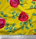 Soimoi Gelb Seide Stoff Blätter & Rose Blumen- Stoff