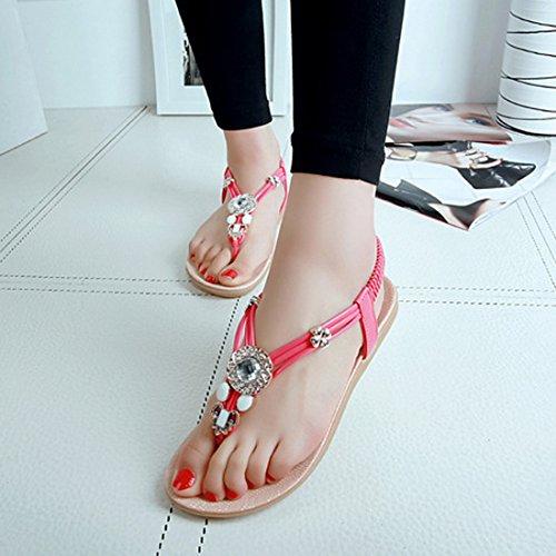 Vertvie Damen Sommer Schuhe Strandschuhe Offene T-Spangen Sandalen Knöchelriemchen Sandalen mit Strass Zehentrenner Flip Flop Hausschuhe Rot