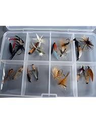 La pêche à la truite à la mouche sans ardillon sélection de 20 mouches Nymphes sec et humide Braguette à dans coffret Sans clips boîte