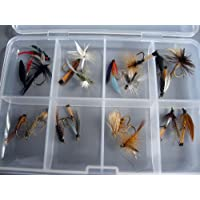 Fly Fishing for Trout BARBLESS MIXED SELECTION 20 Flies in set DRY WET NYMPH FREE Clip shut Fly Box #302