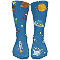 Sport Athletic Lightweight Tube Long Knee High Socks Unisex Space Rocket Solar System Breathable Outdoor Stockings Gifts