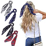 WELROG 4 Stücke Frauen Haar Haargummis Haar Krawatten Kopfverpackung Gummibänder Haar Zubehör (Rosa/Schwarz/Blau/Rot)