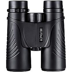 HUTACT Prismáticos10x42, de campo amplio Binoculares Profesionales HD 10x42 para viajeros, para observar aves, detalles más luminosos y nítido, a prueba de agua y polvo