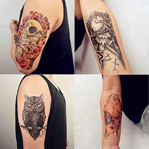 cokohappy-grande-temporales-tatuaje-4-diferente-hoja-rosa-craneo-calavera-celtic-buho-reloj-maquina