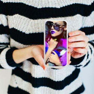 Apple iPhone 5s Housse Étui Protection Coque Femme Femme Lunettes de soleil Housse en silicone blanc