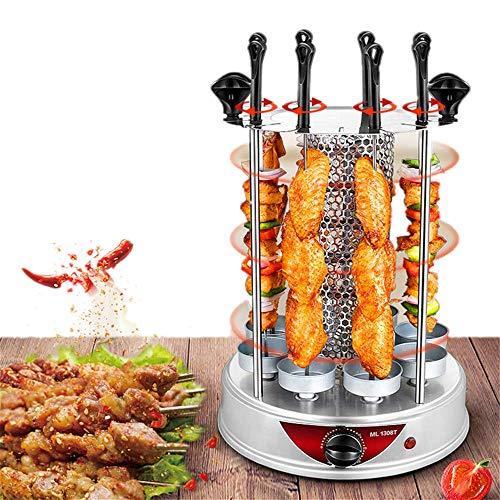 Angela Kleiner vertikaler Rotisserie-Ofen, rauchloser elektrischer Grill, automatische Rotationsgrillmaschine, 8 Gabeln, geeignet für die Verwendung in der Küche für Familien -