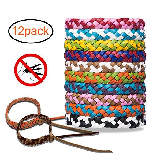 12 Stück Mückenschutz Armband, Anti Mosquito Bracelet Repellent Wristband natürlichen Öl Sicheres Deef-Freies und Wasserdichtes Insektenschutz-Armband für Kinder, Erwachsene