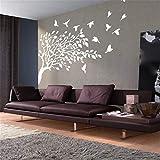 wandaufkleber küche 3d Baum mit Vögeln für Wohnzimmer Sofa Background