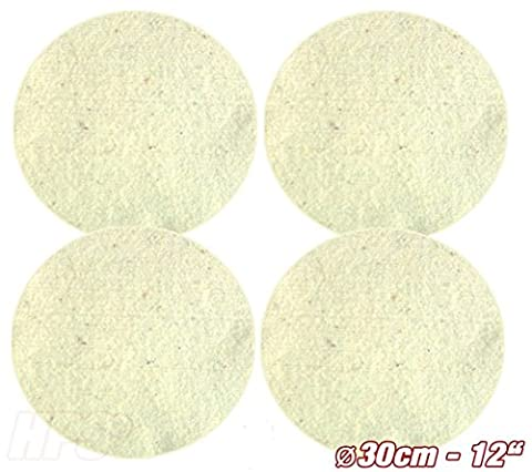 HPS® Set of 4pads–Sheep's Wool–Polishing Pad Diameter 30cm Cleaning Bath for Oiled–Sealed Parquet, Laminate, Marble, Granite, PU Epoxy Flooring, Lino and Vinyl. For OVERMAT Polisher Floorboy 300–Boy Pads