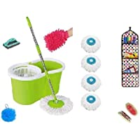 CloudHub Spin Bucket Combo Mop with 4 Refills- Super Absorbent Refills for All Type of Floors, 360 Degree Spin Bucket, 180 Degree Bendable Handle, for Perfect Cleaning (Color May Vary) and wall hanging