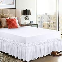 Utopia Bedding Elástico Falda De Cama con Volantes - Extra Profundas (40 cm Caída) - (135 x 190 cm, Blanco)