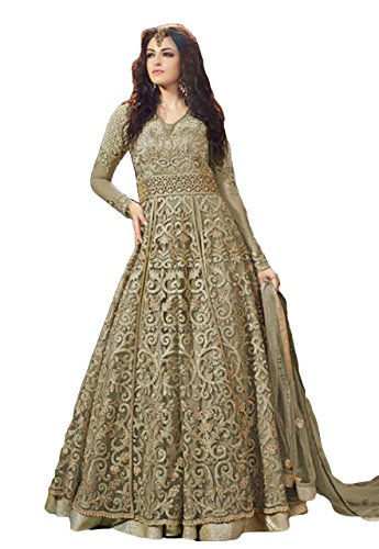 Justkartit 2017 Wedding Parrty Wear Net Anarkali Style Lehenga Suits (Semi-Stitched)