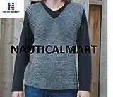 Nautische Mart LARP Rüstung Mittelalter ärmellos chainamil T-Shirt Tragbares Kettengeflecht, Farbe: Blau