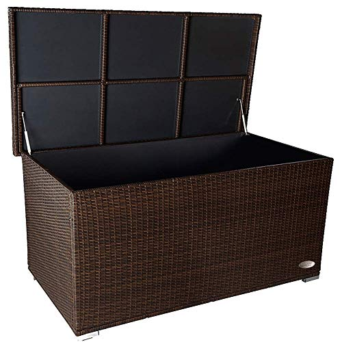 PREMIUM \'Venezia\' 950 L Polyrattan Garten Kissenbox wetterfest (regnet nicht rein) 146 x 83 x 80 cm, Auflagenbox mit verstärktem Deckel und Gasdruckfedern, auch als Tischplatte geeignet, Java Braun