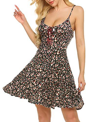 Damen Cami (Unibelle Damen Negligee V-Ausschnitt Nachtkleid Nachthemd Spitze Nachtwäsche Sleepwear PAT3 L)