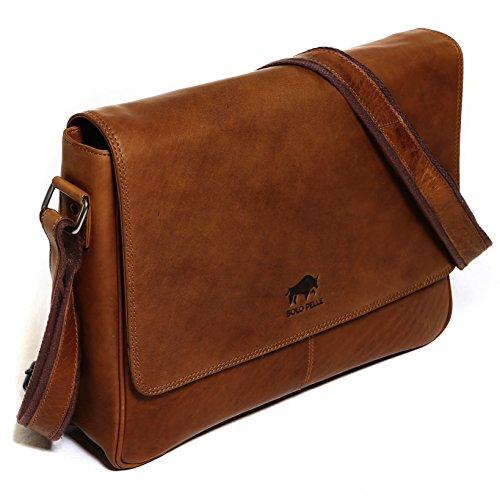Solo Pelle Leder Messenger Tasche / Umhängetasche aus echtem Leder Modell: 4012 (Vintage-Braun) (geeignet für 15,6 Zoll und 17 Zoll) Oreo
