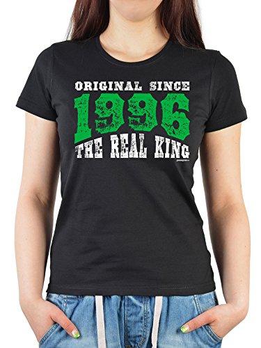 Jahrgangs/Geburtstags-Girlie-Shirt/Fun-Shirt/Damen: Original Since 1996 The Real King - geniales Geburtstagsgeschenk Schwarz