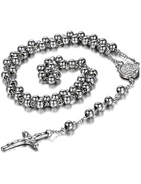cupimatch Vintage Silber Ton Edelstahl Religiöse Jesus Christus Kruzifix Kreuz Cham Anhänger Link Bead Kette Halskette