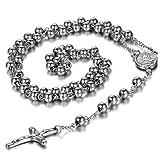 cupimatch joyas Vintage Plata Tono Acero inoxidable religiosa largo rosario Cruz colgante collar de cadena para mujer hombres niñas