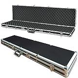 Waffenkoffer, Alurahmen, LxBxH 1300x300x105 mm, 2 Schlüssel- und 2 Zahlenschlösser, Gewehrkoffer in schwarz/silber