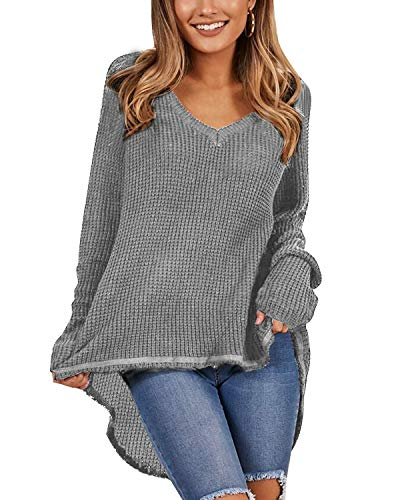 Kenoce Damen Casual V-Ausschnitt Sweater Langarm Asymmetrisch Oberteile Lose Schulterfrei Pullover Grau EU 44/Etikettgröße XL